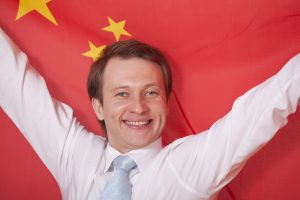 fanatic man with china flag